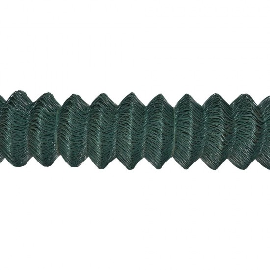 25m x 1800mm x 50mm x 2.5mm 4TRADE Green Plastic Coated Chainlink Fence