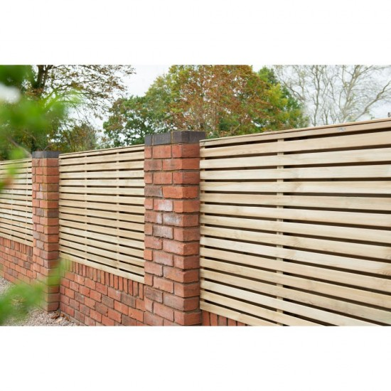 1.8m x 0.91m Forest Garden Pressure Treated Contemporary Double Slatted Fence Panel (Pack of 5)