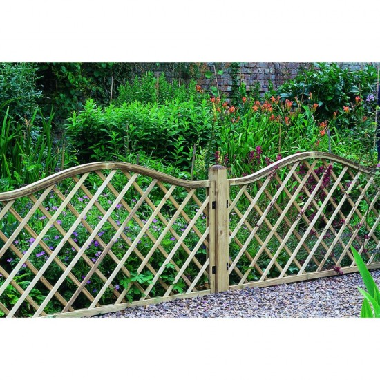 1.8m x 0.9m Forest Garden Pressure Treated Decorative Europa Hamburg Garden Screen (Pack of 3)