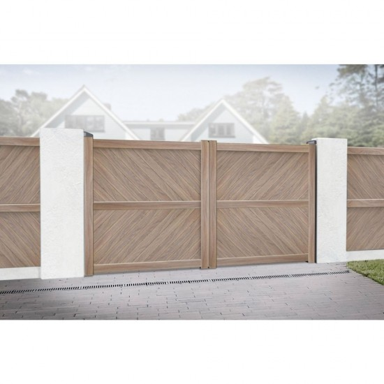 4000 x 2000mm Cambridge Double Swing Flat Top Driveway Gate with Diagonal Solid Infill (Wood Effect)