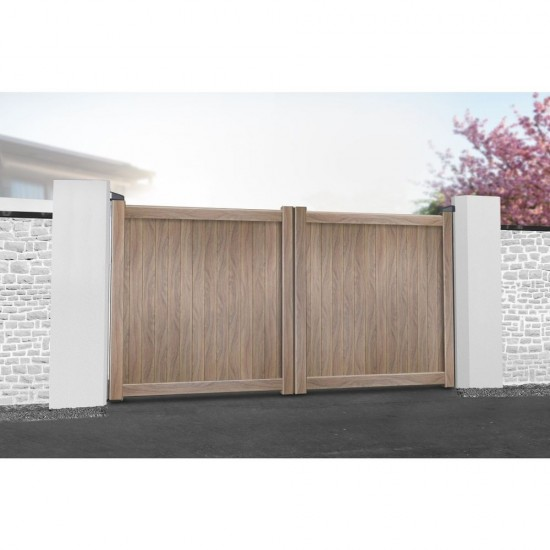 3250 x 2000mm Canterbury Double Swing Flat Top Driveway Gate with Vertical Solid Infill (Wood Effect)