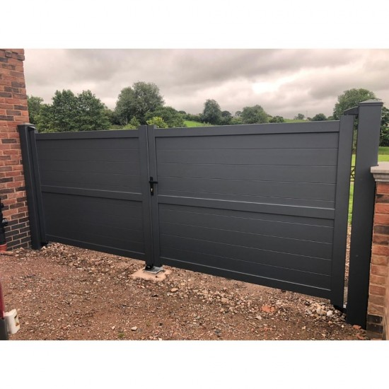 3250 x 1800mm Dartmoor Double Swing Flat Top Driveway Gate with Horizontal Solid Infill (Grey)