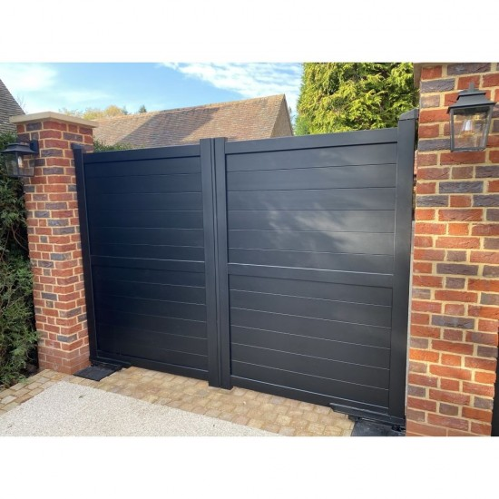 3750 x 1800mm Dartmoor Double Swing Flat Top Driveway Gate with Horizontal Solid Infill (Black)