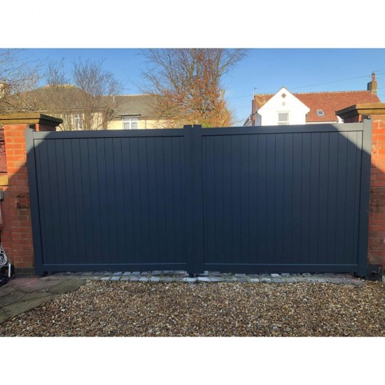 3250 x 2000mm Canterbury Double Swing Flat Top Driveway Gate with Vertical Solid Infill (Grey)