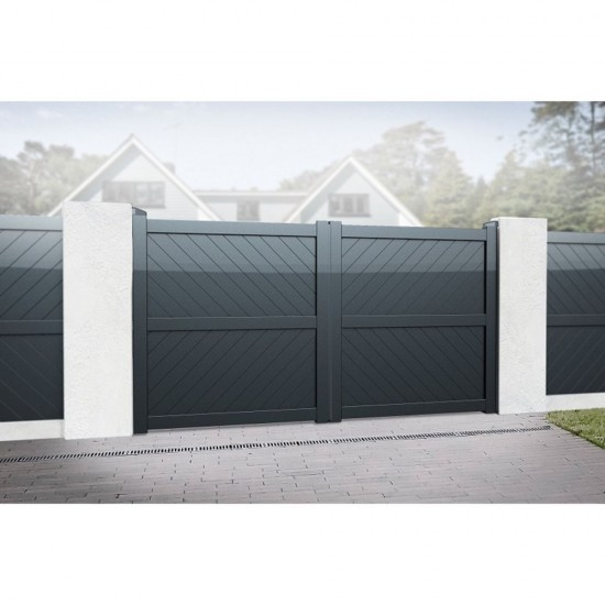 3000 x 2000mm Cambridge Double Swing Flat Top Driveway Gate with Diagonal Solid Infill (Grey)