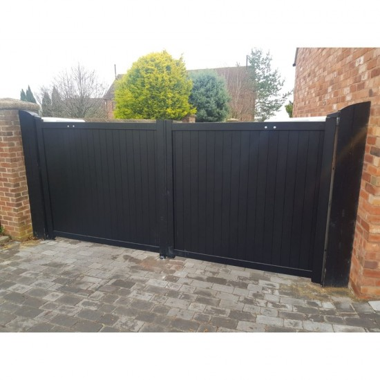 3500 x 1600mm Canterbury Double Swing Flat Top Driveway Gate with Vertical Solid Infill (Black)